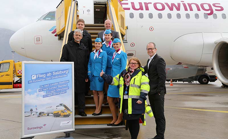 Eurowings goes Britain: 2x London Heathrow, 4x London Stansted, 2x Manchester und 2x Birmingham wöchentlich ab Salzburg nonstop.